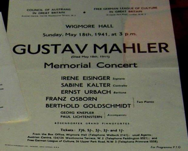 Poster: Berthold Goldschmidt et al performs Mahler in WWII London