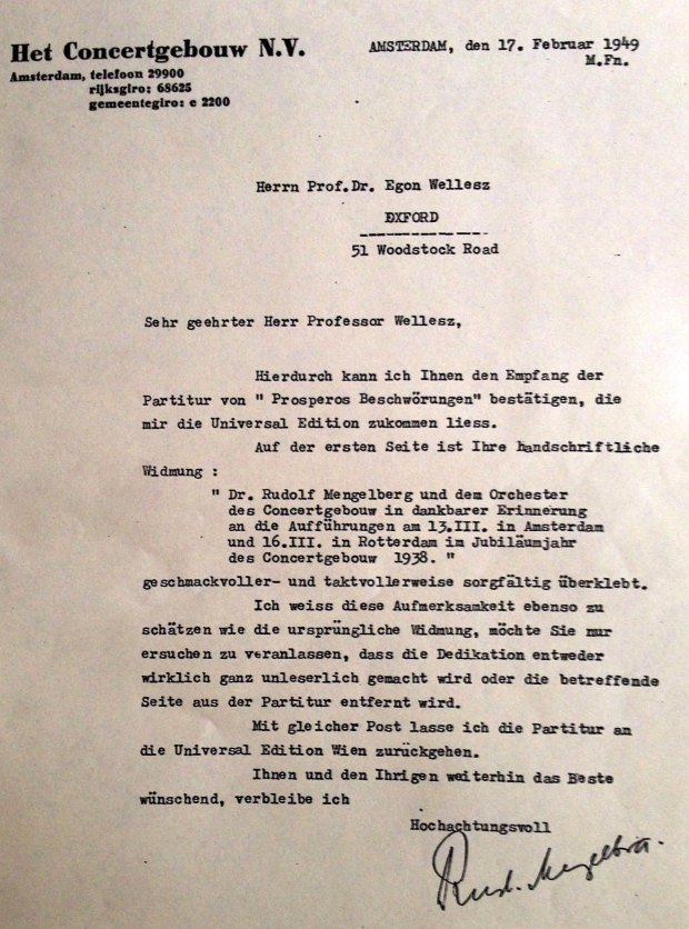 Rudolf Mengelberg's 1949 letter to Wellesz