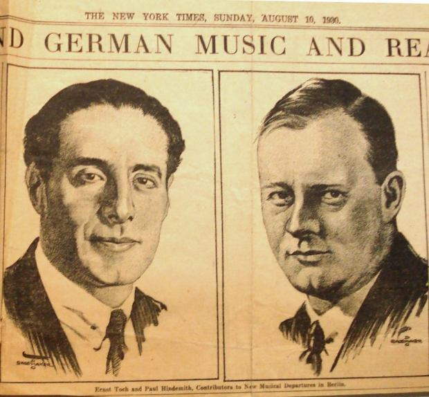 Hindemith and Toch on the New York Times