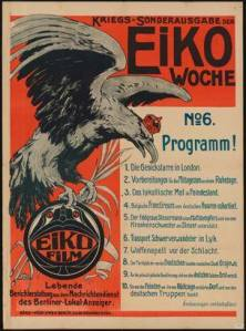A Berlin directory of propaganda films from the First World War including one called the Stiff Neck of London