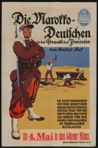 A First World War propaganda poster portraying the inhuman treatment by the French of German prisoners of war in Morocco.