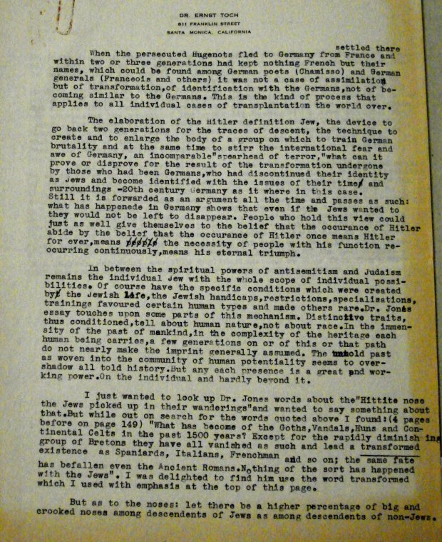 First page of a letter Ernst Toch wrote to an unknown US editor
