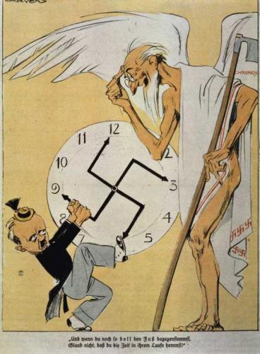 """""""Und wenn du noch so doll den Fuß dagegen stemmst, glaub nicht, daß du die Zeit in ihrem Laufe hemmst!""""."""