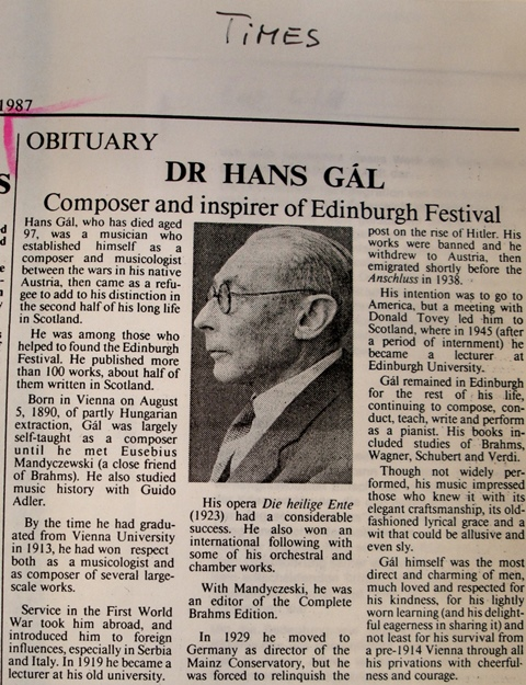 Times  Obituary of Hans Gál