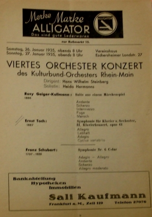 One of several Kulturbund programmes featuring works by Ernst Toch