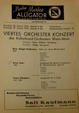 One of several Kulturbund programmes featuring works by Ernst Toch