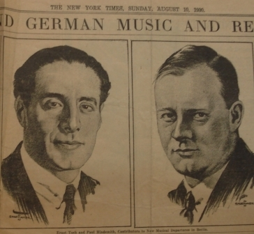 NY Times article on Hindemith and Toch 1930