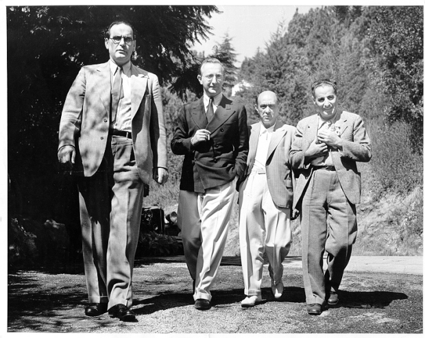 Otto Klemperer, Prinz Hubertus von Loewenstein, Arnold Schoenberg walking in the Canyons of LA
