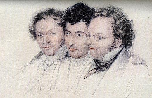 Johann Baptist Jenger (links), Anselm Hüttenbrenner (Mitte) und Franz Schubert (rechts)