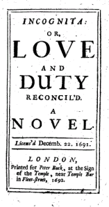 William Congreve's novel on which Wellesz's 'Incognita' was based
