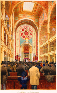 Emil Ranzenhofer's view of the interior of Vienna's Tempelgasse Synagogue