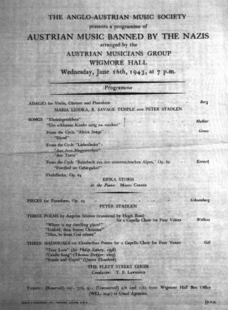 Programme of Austrian banned composers performed in the context of refugee cultural events