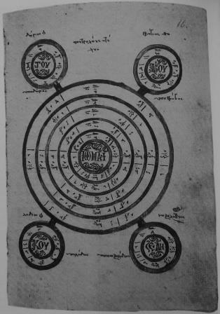 The wheel of Ioannes Koukouzeles shows where the relative keys (Echoi) are located on a system built on 5ths