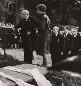 Arnold Zweig with Alexander Abusch standing behind at the grave of Hanns Eisler, 12th September 1962