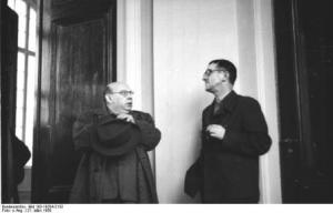 Eisler and Brecht at the newly re-opened Academy of Arts, (East) Berlin
