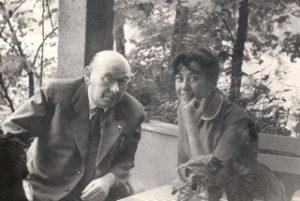 Eisler and Steffy on the terrace of Eisler's home in Berlin Pankow