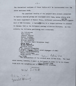 Page from draft of film music report listing experts Eisler wished to involve, including many fellow émigrés