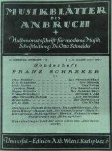 Universal Edition's 50th birthday Schreker special edition of 'Anbruch'