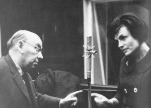 Eisler in an East Berlin recording session with Gisela May, 1960