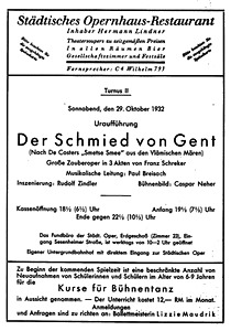 Playbill for 'Schmied von Gent' at Berlin's Städtische Oper, October 29th, 1932