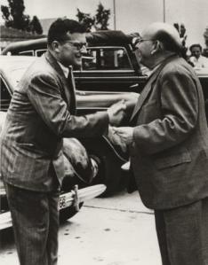 Eisler greets Shostakovich in Leipzig 1950