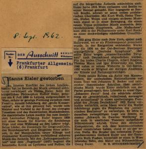 Eisler obituary by H.H. Stuckenschmidt in the Frankfurter Allgemeine Zeitung