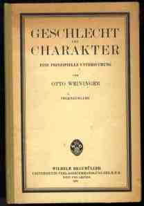 Sexuality and Character by Otto Weininger, published in 1903