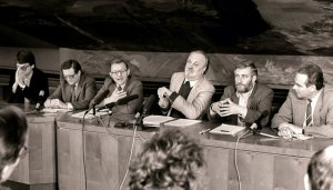 The 'Leipzig Six' with Kurt Masur, Kurt Meyer,  Roland Wözel, Jochen Pommert, Father Peter Zimmermann,  Bernd Lutz-Lange on 4th October 1989 as Leipzig rebelled against its Communist government