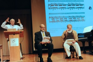 PROF. MICHAEL BECKERMAN (left) FRED MELAMED (center) BILL PORTER (RED PINE) right at the Music, Censorship and Meaning in Nazi Germany and the Soviet Union: Echoes and Consequences event in Thayer Hall at the Colburn School.  - PHOTO BY BONNIE PERKINSON
