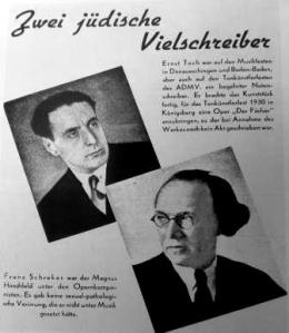 Nazi progaganda against the composers Ernst Toch and Franz Schreker