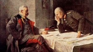Paul von Hindenburg (left) and Erich Ludendorff. Painting by Professor Hugo Vogel