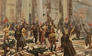 Storming the Winter Palace during the Russian Revolution