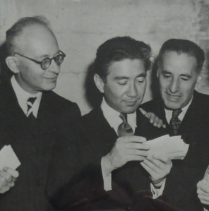 Castelnuovo-Tedesco, Arthur Shilkret and Ernst Toch at a performance of 'Genesis Suite'