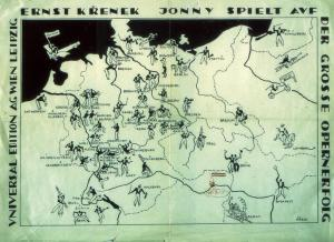 Poster created by Krenek's publishers showing all the cities in Germany where 'Jonny' had played