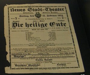 Playbill for 'Die Heilige Ente' in Chemnitz 1924
