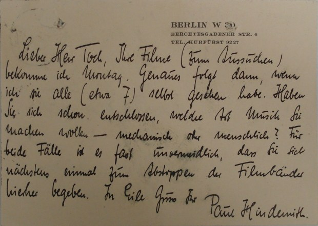 Hindemith postcard to Toch asking if he will be requiring 'musicians or machines' for his contribution to the film and moving Picture Festival in Baden-Baden 1928