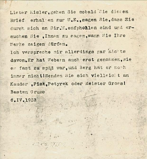 Schönberg's letter of recommendation to UE for Hanns Eisler