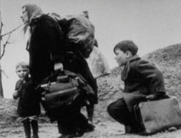 Dispossessed German familes had to walk for days on a forced march through Europe during which it's estimated 250,000 died