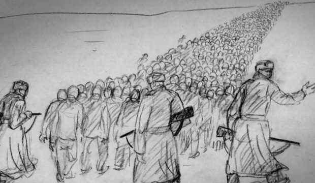 The Forced March West of Ethnic Germans as drawn by an observer, 1945