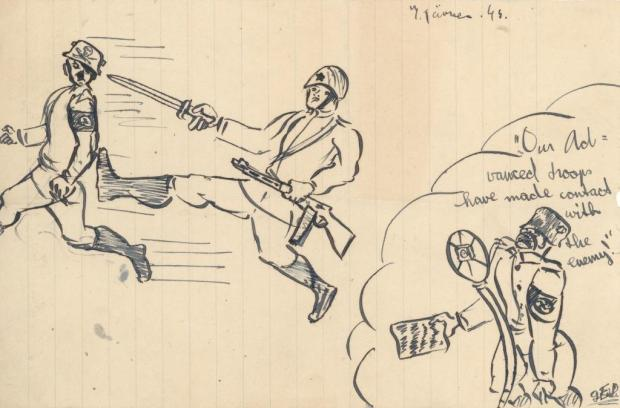 Drawing by Georg Eisler of Soviets driving out Nazis