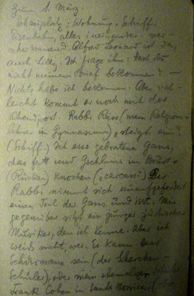 Page from Toch's Dream Diary