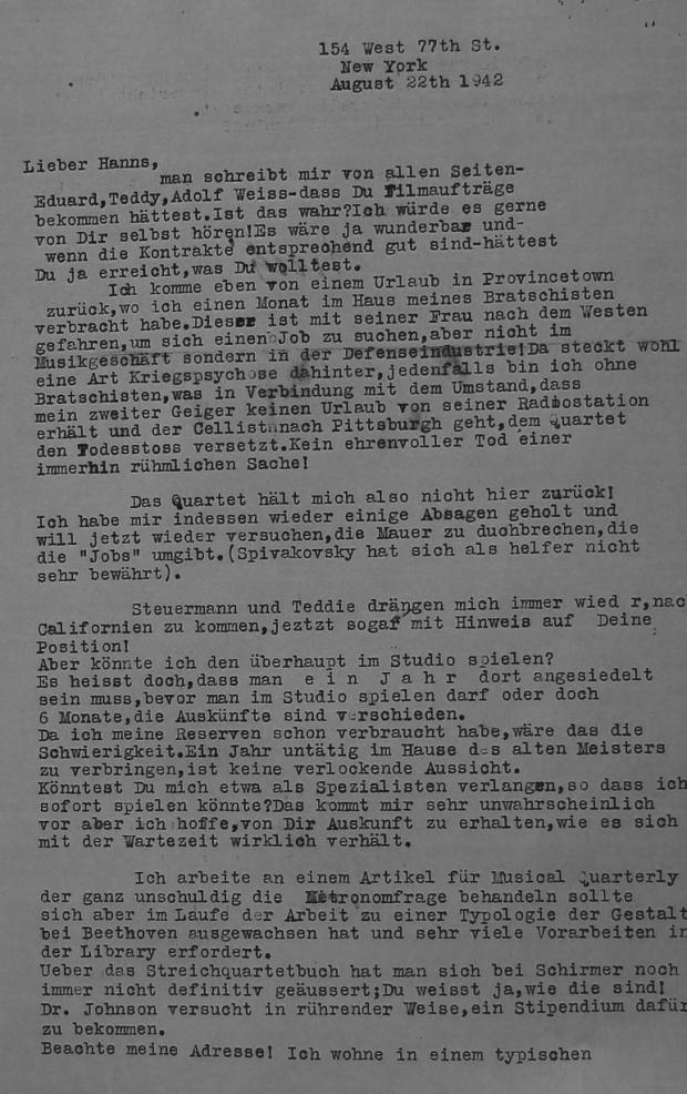 Rudolf Kolisch writes to Hanns Eisler in Los Angeles