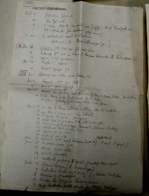 a page from Toch's agenda of a planned return in 1950