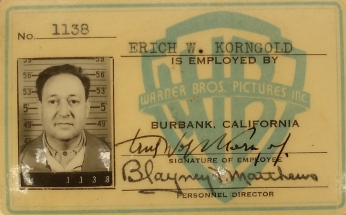Korngold's ID at Warner Bros.