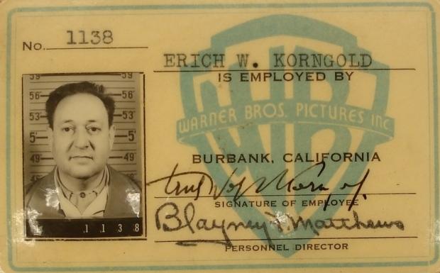 Korngold's ID at Warner Bros.