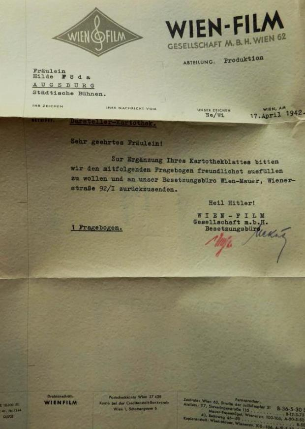 Letter from the Wienfilm Studio with 'Heil Hitler' signature