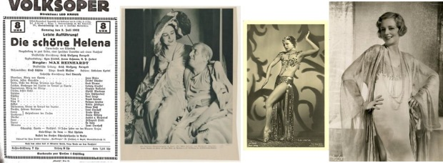 Offenbach's La belle Hélène in the version by Max Reinhardt and Erich Korngold with poster from the Volksoper, photo of Hans Moser and Jarmila Novotná (as Helen) and the dancer La Jana as Venus; Evelyn Laye played 'Helen' at London's Adelphi where its lengthy run was an enormous success for cast, Korngold and theatre