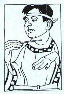 Caricature of Korngold from 1931 run of 'Die Schöne Helene'