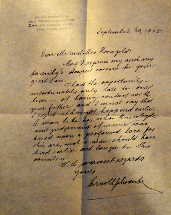 Arnold Schoenberg's letter of condolence upon the death of Julius Korngold, with whom he had found genuine friendship in Los Angeles