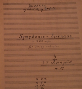 Following his near fatal heart attack, Korngold wrote his 'Symphonic Serenade' for Strings and dedicated it to 'Luzi' his 'beloved wife and best friend'. It was subsequently performed with the Vienna Philharmonic under Wilhelm Furtwängler, though poor weather meant that Korngold took over the rehearsals